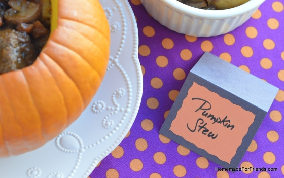 Personalize your pumpkin stew with a place card.