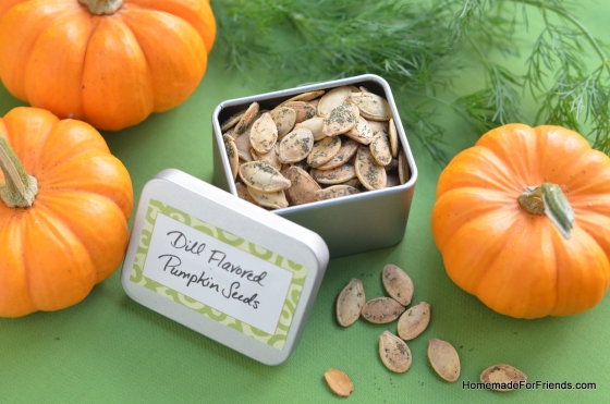 Increase the addictive factor of pumpkin seeds by roasting them in a dill flavored spice mixture. This is the perfect food gift for anyone on the go.