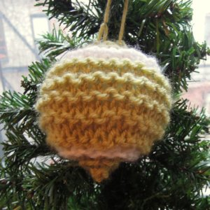 Knitted Ornament by Slope Girl Knits.