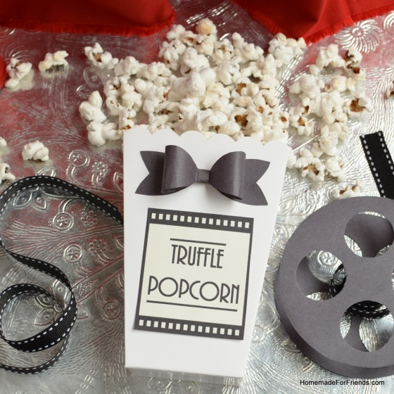 Get this red carpet look for your Truffle Popcorn! Box by Wilton, bow tie by HowAboutOrange.blogspot.com, label by HomemadeForFriends.com.