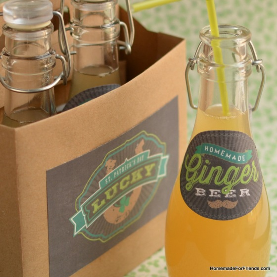 For an added touch to these bottles of homemade ginger beer, repurpose a cardboard beer holder by covering it in craft paper decorated with one of Lia Griffith's matching labels.