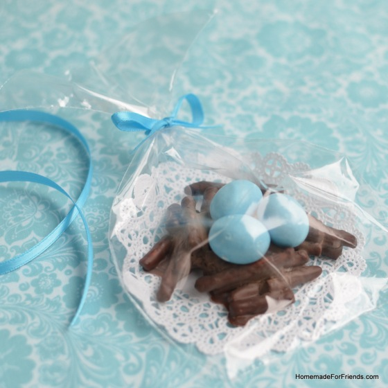 Chocolate Pretzel Nests: A great party favor for a baby shower!