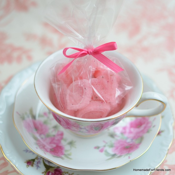 For an added touch, display a package of the Rose Petal Sugar Cubes up in a pretty vintage tea-cup from a local thrift store.