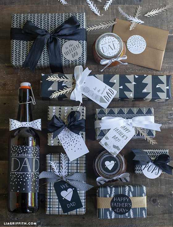 Printable Father's Day Gift Wrap and Tags by Lia Griffith